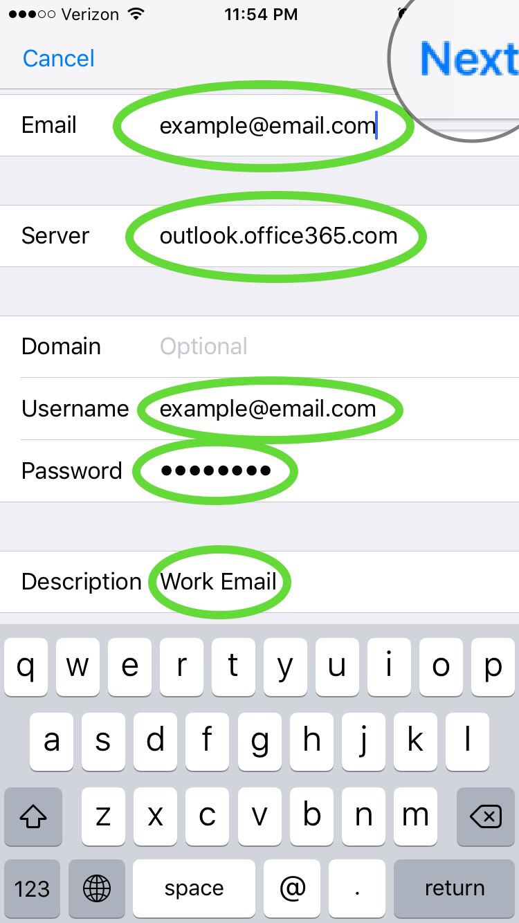 setup Office 365 Email iOS 10