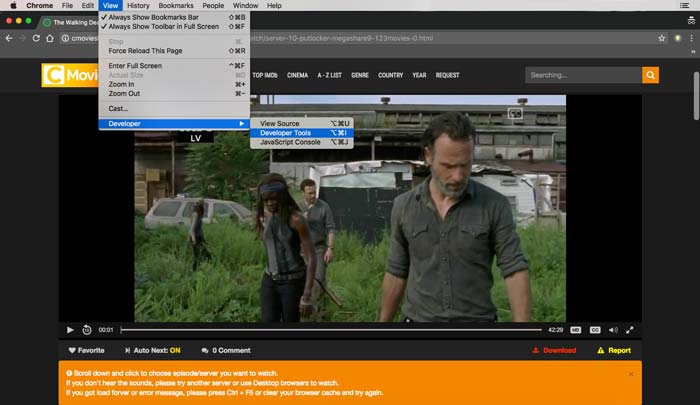 Save Streaming Video in Google Chrome, Access Google Developer Tools Network