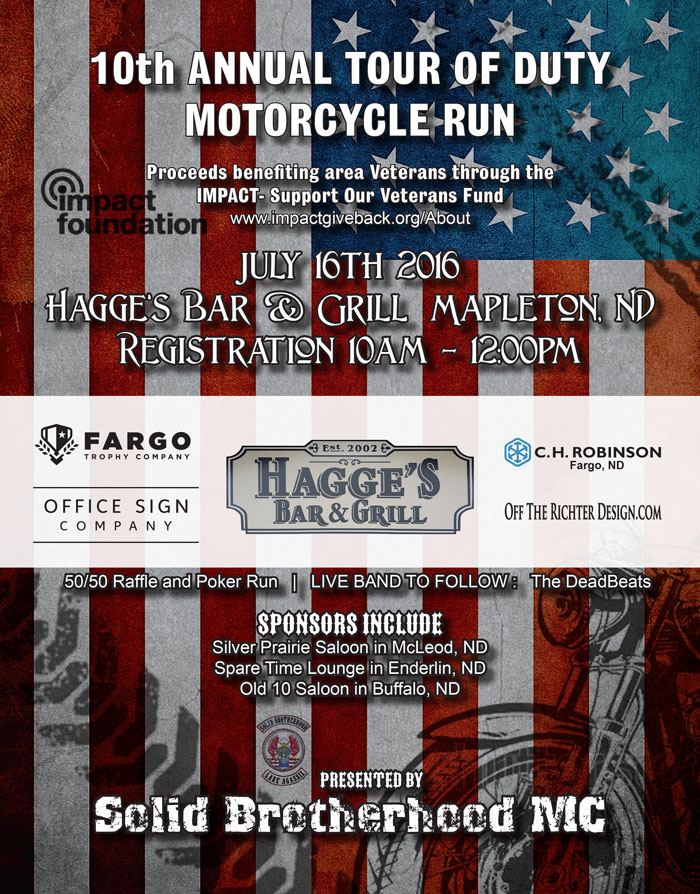 11th Annual Tour of Duty Motorcycle Run Poster Design